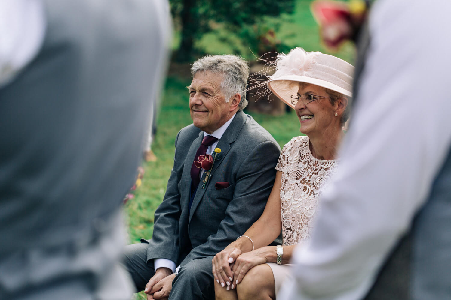 hunter valley wedding photographer mum and dad watch as bride and groom get married