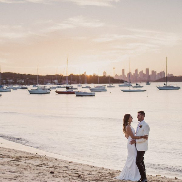 Watsons bay hotel wedding Jenna Greg Kat Rollings Photography couple kiss at sunset