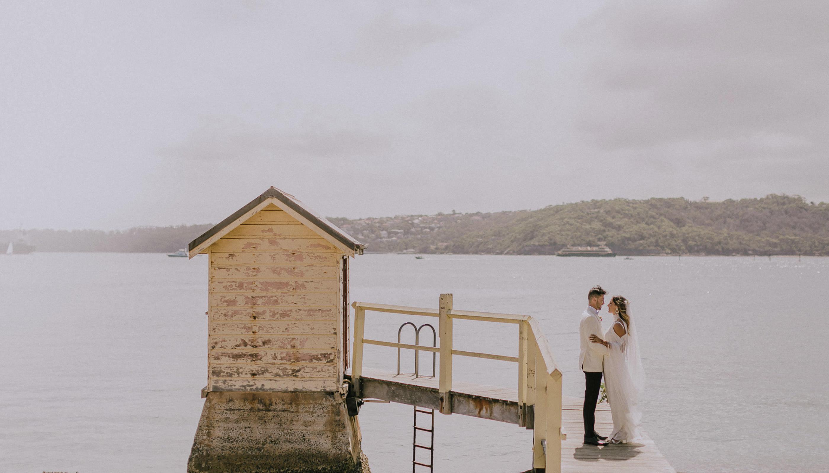 Watsons-bay-hotel-wedding-Jenna-Greg-couple at sunset
