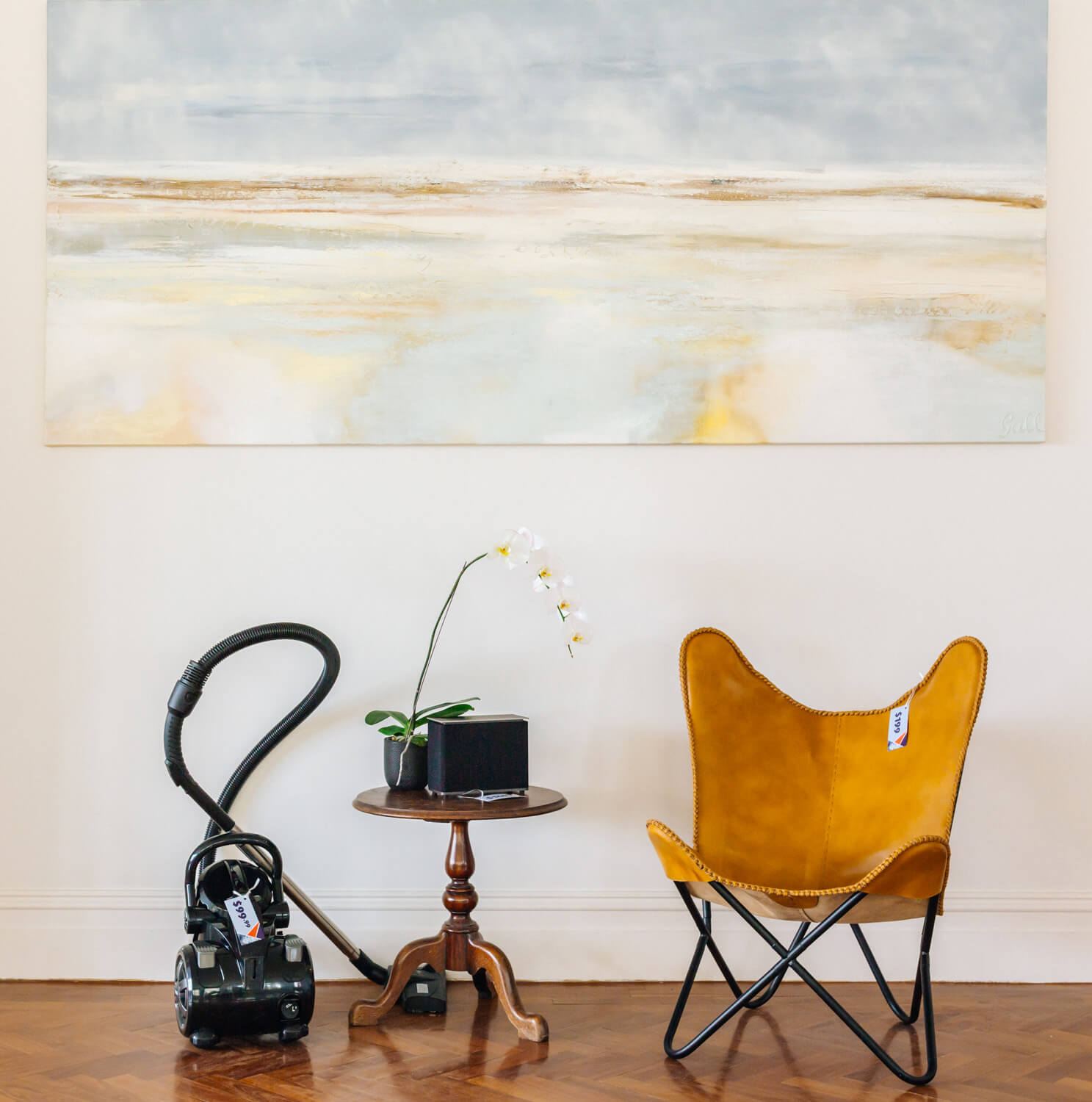 chair, hoover and table, Aldi special buys showcased in a house in Point Piper, Sydney
