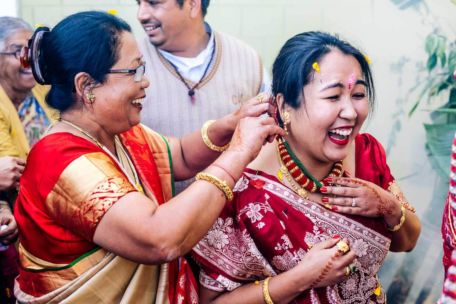 india wedding bride laughing