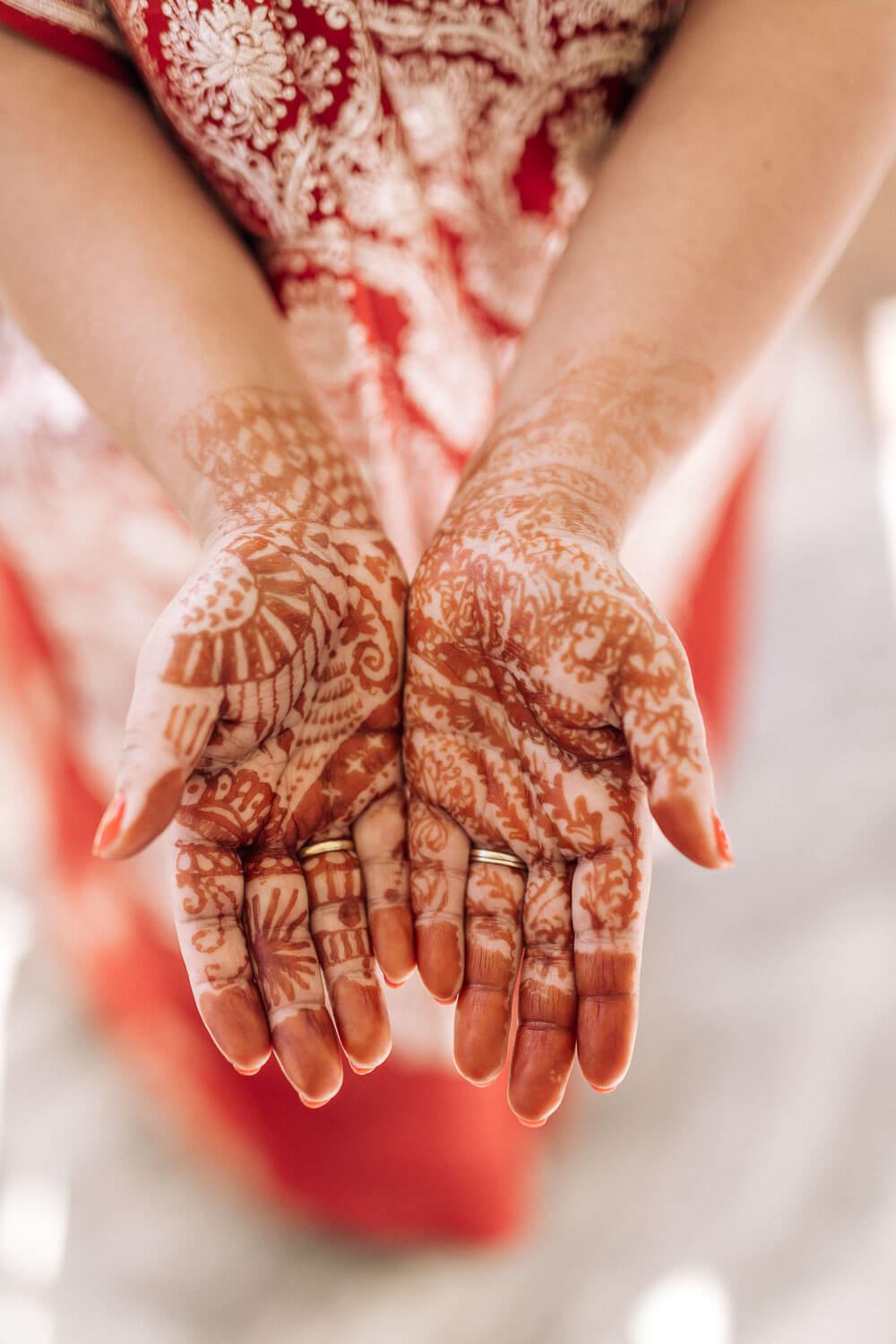 hands covers in henna on an indian brides wedding day