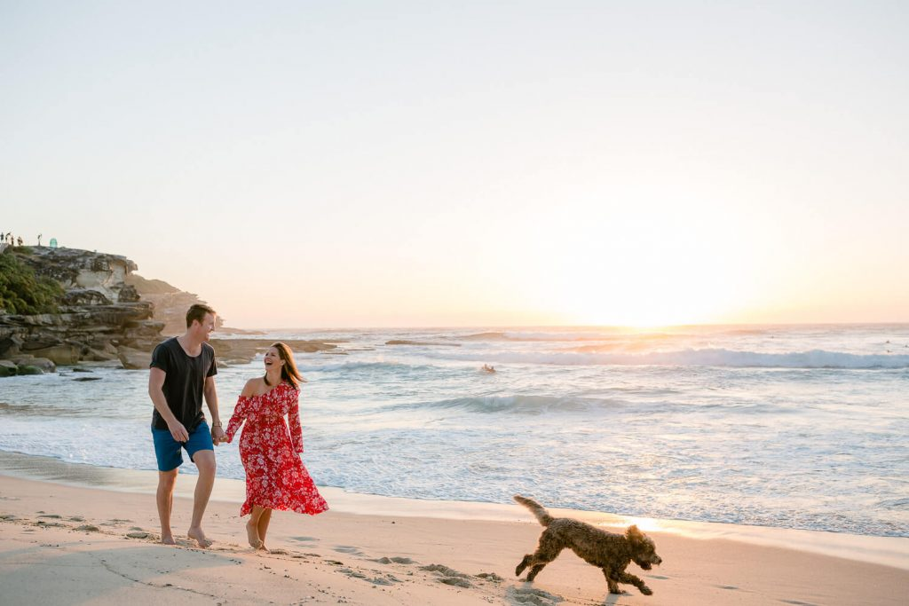 Pre wedding photography sydney of a couple walking along Tamarama beach with their dog