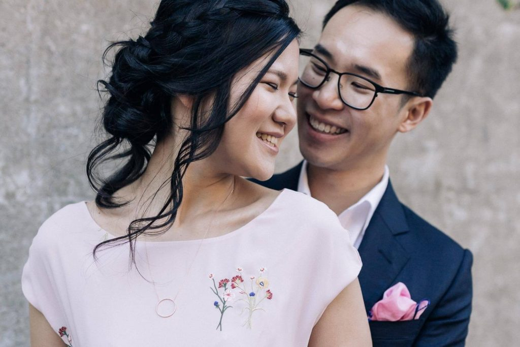 Pre wedding photography sydney couple laughing with each other