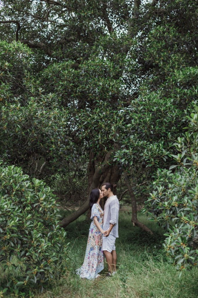 Pre wedding photography sydney of a couple in centennial park wide shot of them kissing under a tree