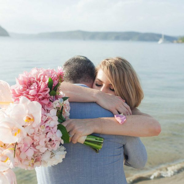 Dunes Palm Beach Wedding Sydney Kat Rollings Photography close up of bride hugging the groom